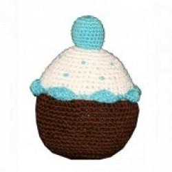 Jouet cupcake en crochet organic bleu
