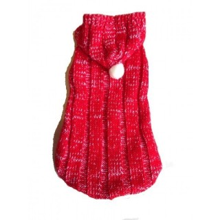 Pull à capuche en laine rouge