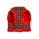 Harnais Luxury Fur tartan rouge