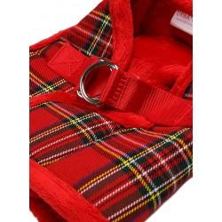 Harnais Luxury Fur tartan rouge