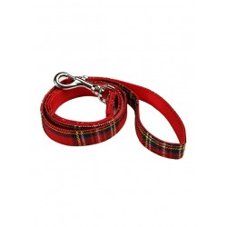 Laisse Luxury Fur tartan rouge