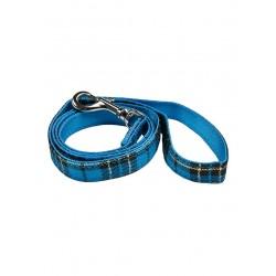 Laisse Luxury Fur tartan bleue
