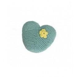 Jouet coeur en crochet vert