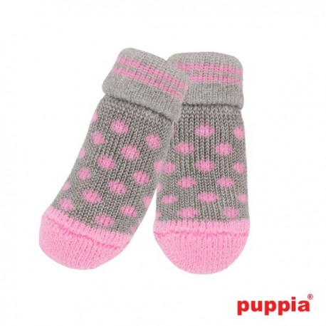 CHAUSSETTES POLKA GRISES & ROSES PUPPIA