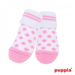 Chaussettes Polka blanches et roses